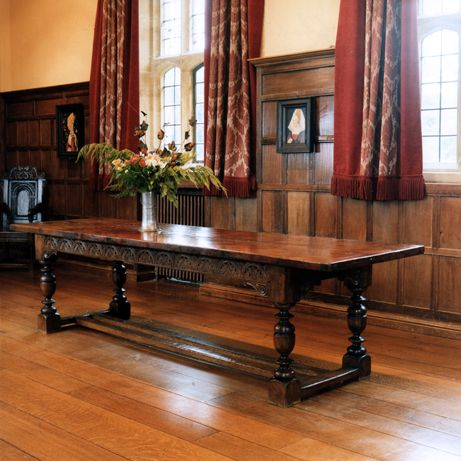 Charles I Oak Dining Table. With The Choice Of A Hand Carved Or Plain  Frieze, And Various Leg Turning Options. Lengths   Or To Bespoke  Requirements