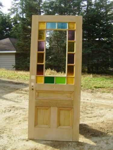 Architectural Antiquities 187 Queen Anne Stained Glass Cottage Door 33 3 4 X 84 995 00 Exterior Doors With Glass Cottage Door Victorian Front Doors