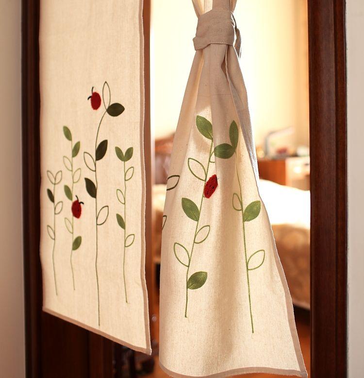 Breve algod n ladyfly poli ster decorativo puerta r stica - Cortinas cocina rustica ...