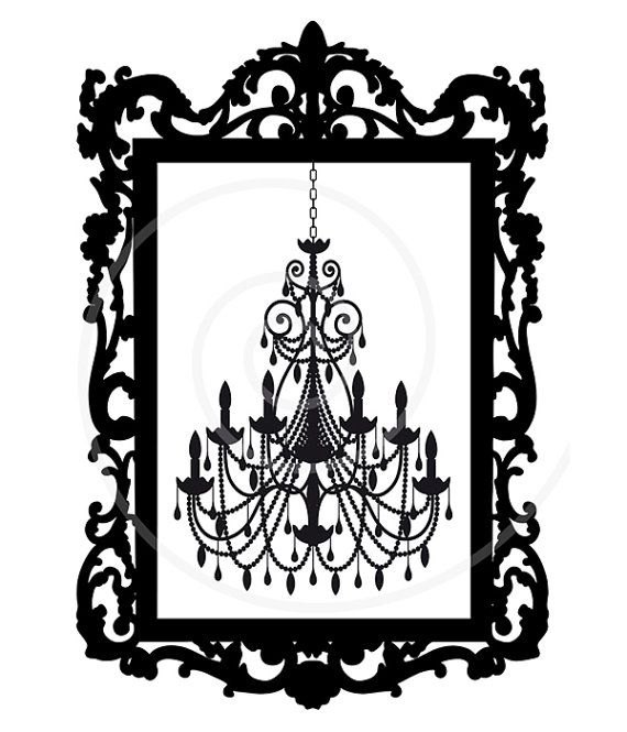 vintage chandelier in antique picture frame digital clip art rh pinterest ca