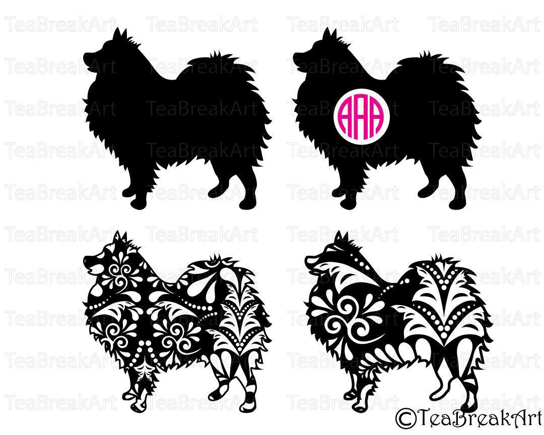 Pomeranian Dog Zentangle swirl pattern Cutting Files SVG PNG EPS ...