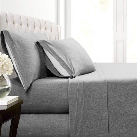 Malina Cotton Jersey Bed Sheet Set Gray King Sheet Sets Sheet Sets Queen Luxury Sheets