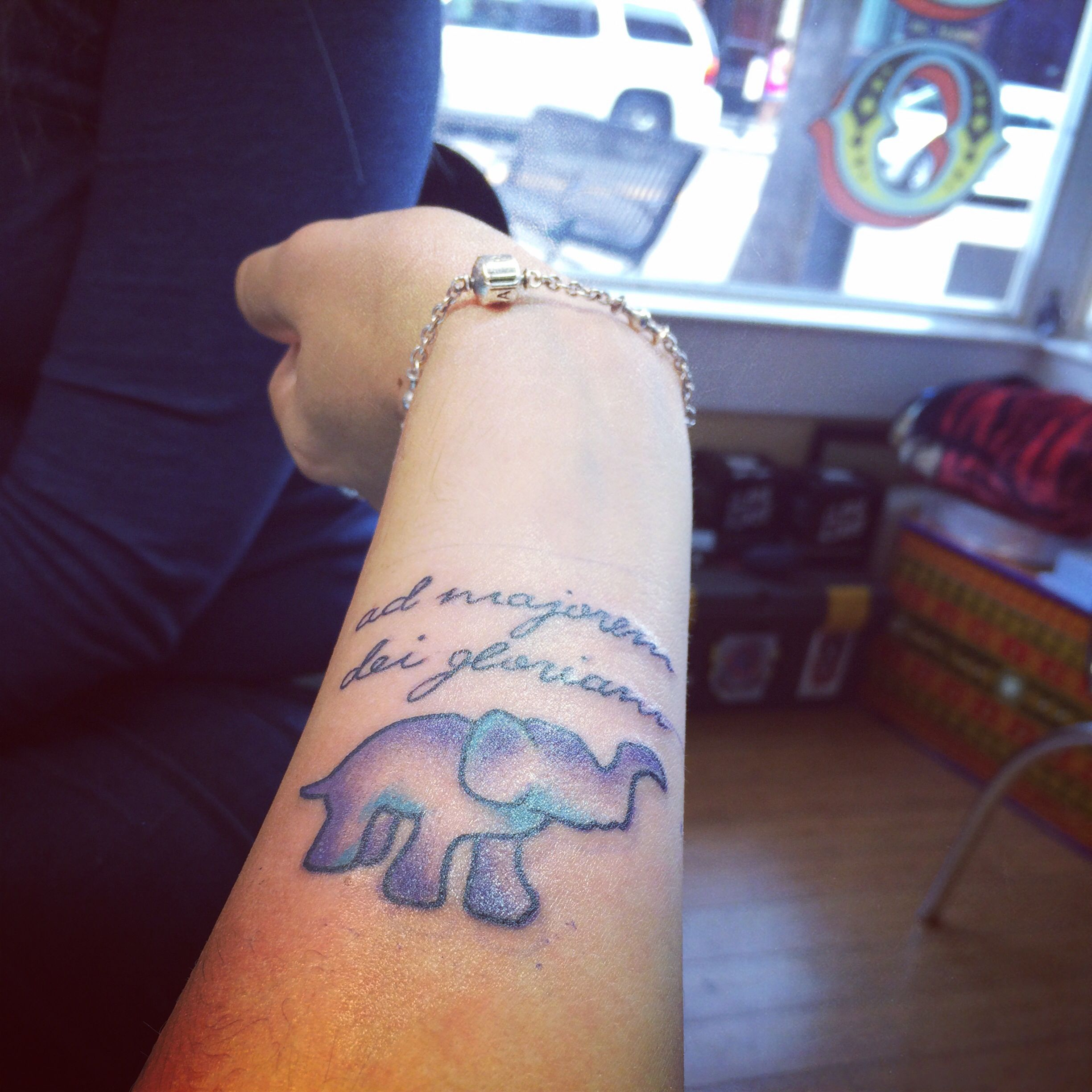 8a1bcc7357966 My new tattoo! For my uncle with Alzheimer's . Purple for awareness and an  elephant for memory and family