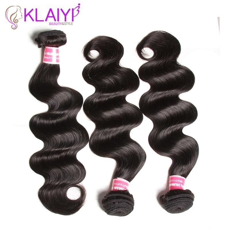 Klaiyi 100 Human Hair Body Wave Bundles Black Color
