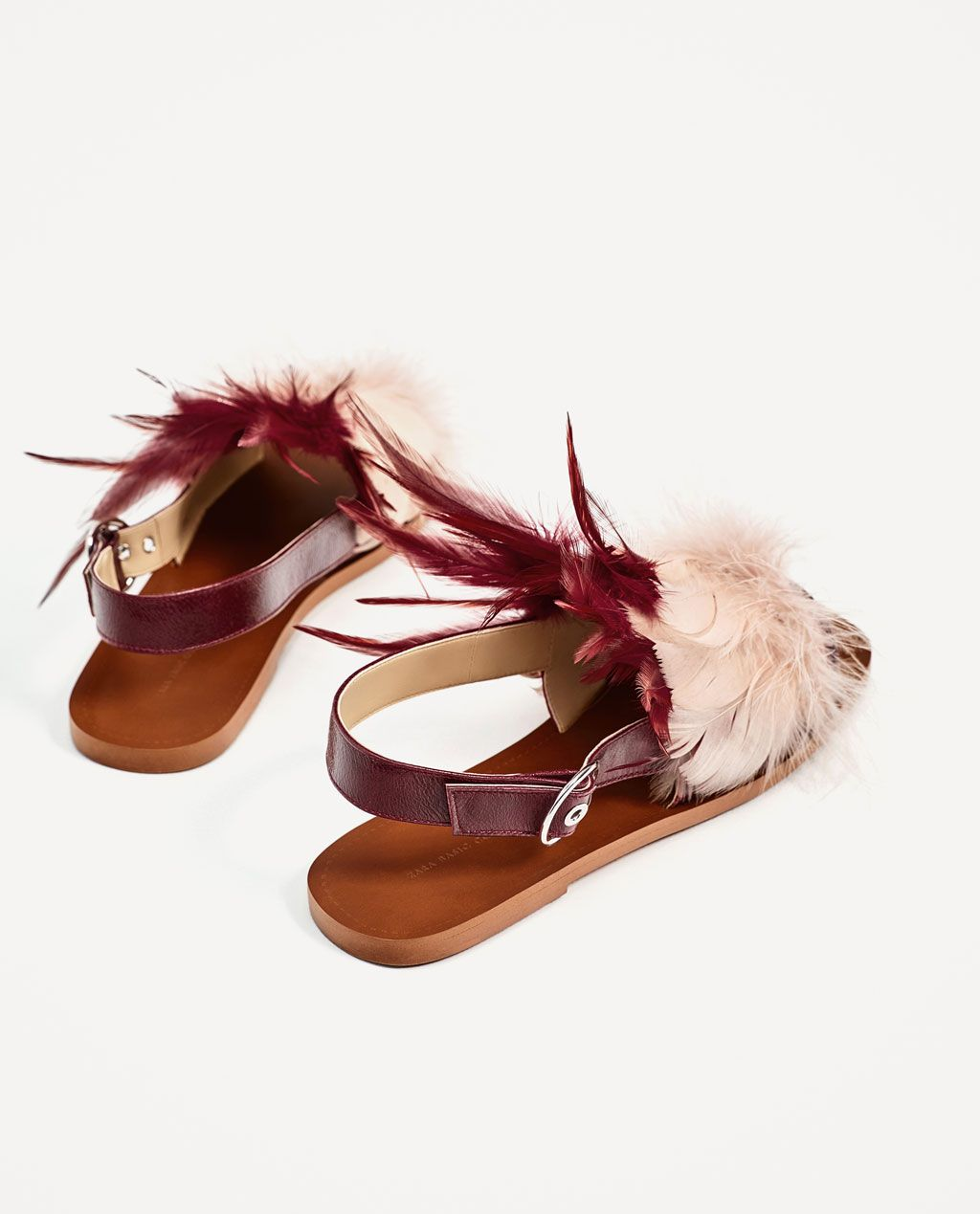 on feet shots of high fashion top design FLAT LEATHER SANDALS WITH FEATHERS-View all-SHOES-WOMAN | ZARA ...