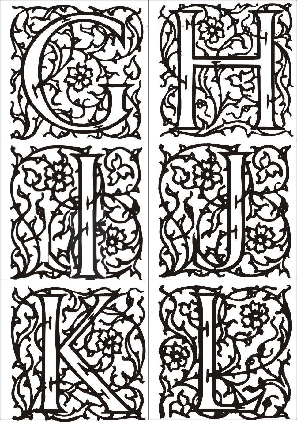 Coloriage lettre v enl lettre m scarino page 2 roman enluminure medieval art renaissance - Image du moyen age a imprimer ...