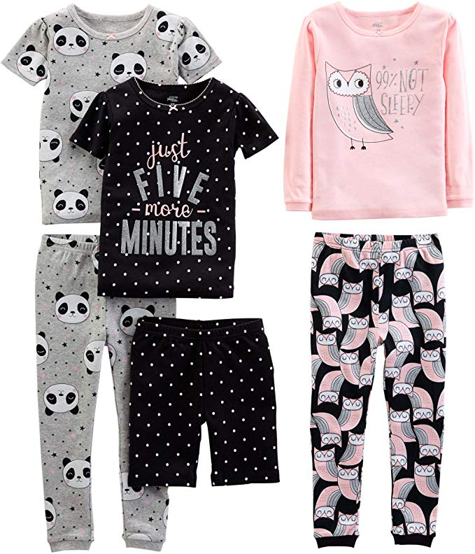 Amazon Com Simple Joys By Carter S Girls Toddler 6 Piece Snug Fit Cotton Pajama Set Owl Panda Dot 5t Clo In 2020 Cotton Pyjamas Cotton Pajama Sets Cute Nightgowns