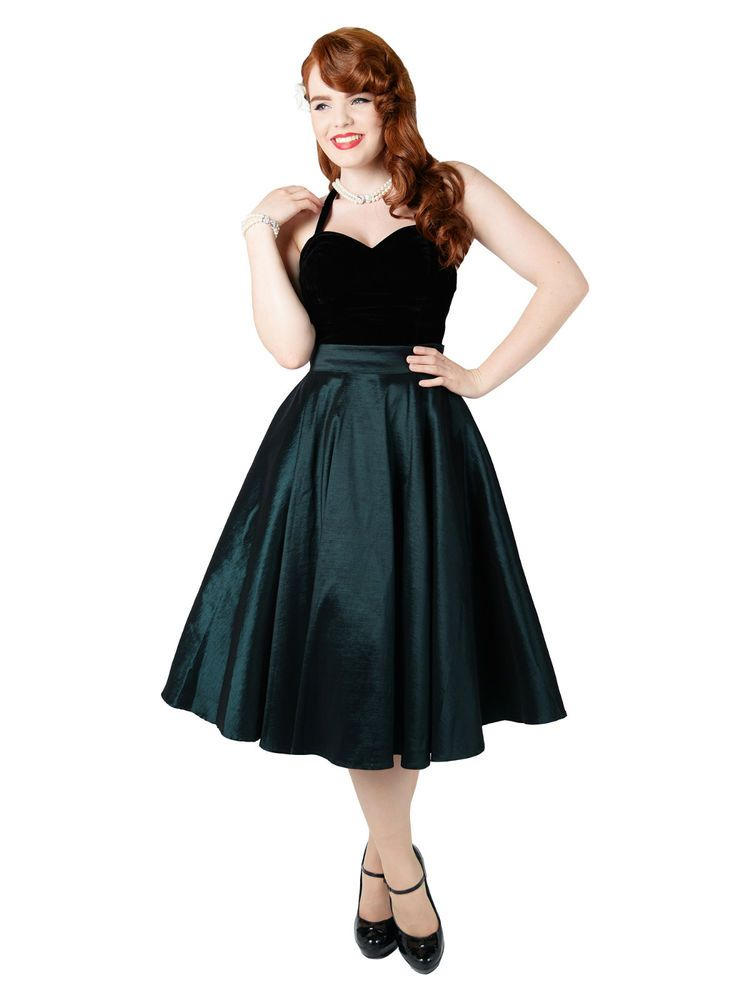eb4cd3f9e6 Collectif Bella Occasion Swing Skirt GREEN Rockabilly VLV ...