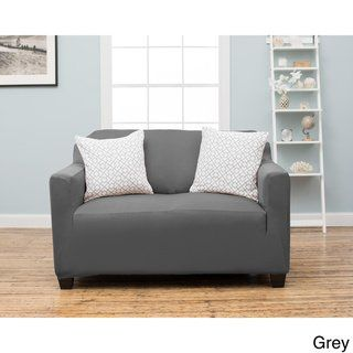 Magnificent Home Fashion Designs Twill Loveseat Slipcover Grey Gray Dailytribune Chair Design For Home Dailytribuneorg