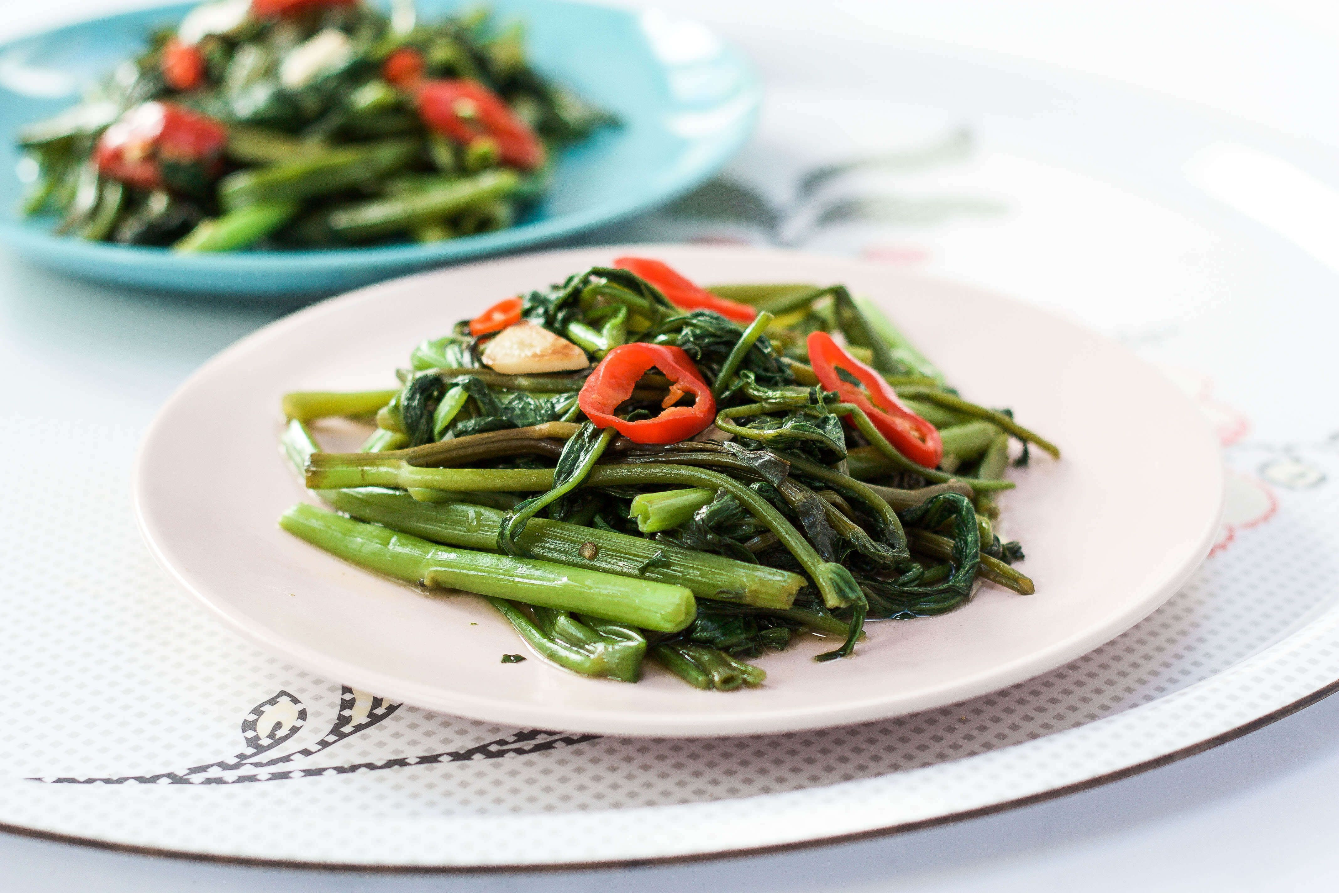 Vietnamese Stir-fry Morning Glory - Also known as water spinach. Stir-fry  with some garlic and chilli. Ready in 10 mins   Chinese side dishes, Asian  recipes, Food
