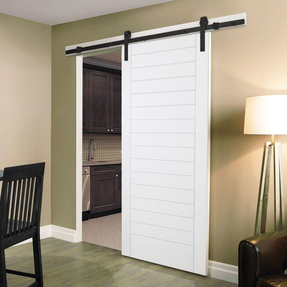 Steves Sons 30 In X 84 In Stacked Modern White Primed Wood Interior Barn Door Slab M74vbnnnac99 The Home Depot Interior Barn Doors Barn Door Designs Wood Interiors