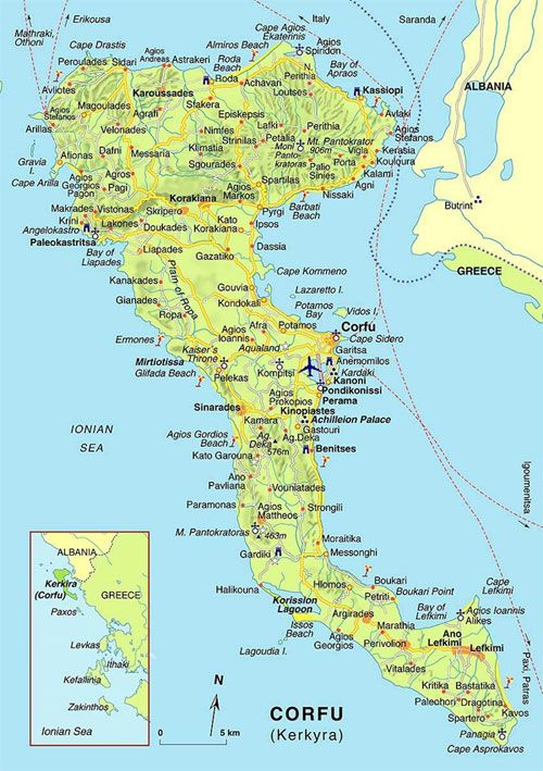 Mapa Wyspy Krk Corfu Island Corfu Map Greek Isles Cruise