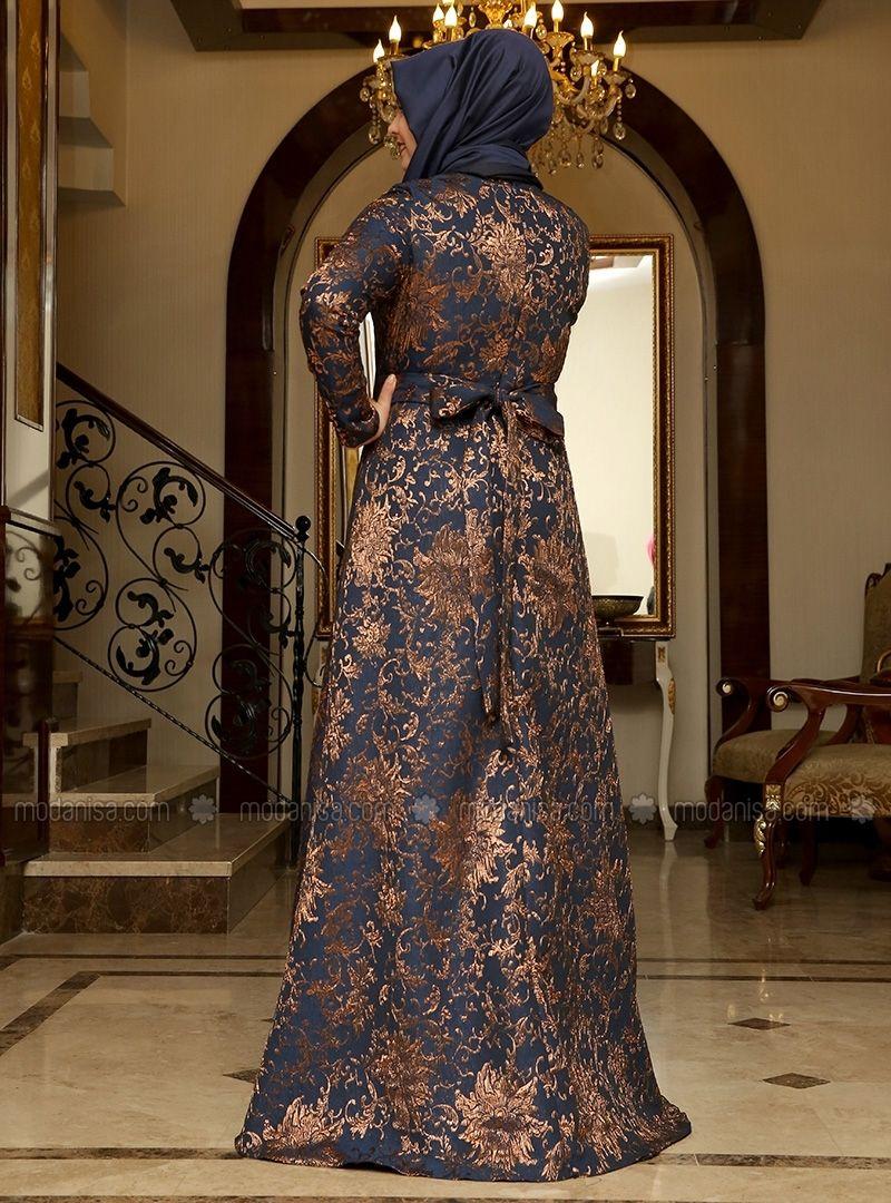 Brocade evening dress navy blue copper saliha model gamis