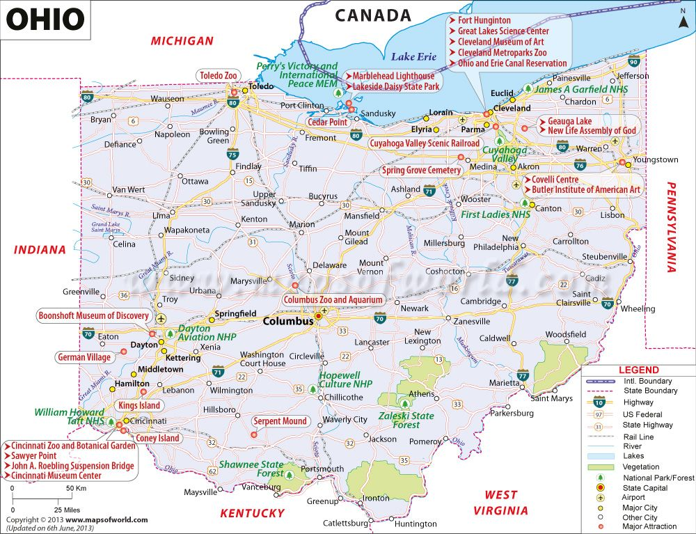 Ohio Map Showing The Major Travel Attractions Including
