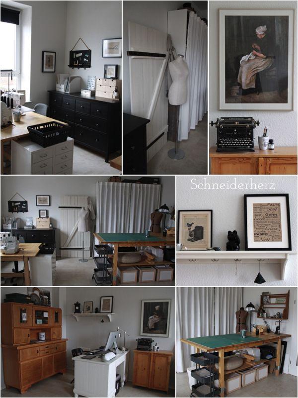 n hzimmer schneiderherz ikea und vintage seite an seite sewing room pinterest n hzimmer. Black Bedroom Furniture Sets. Home Design Ideas