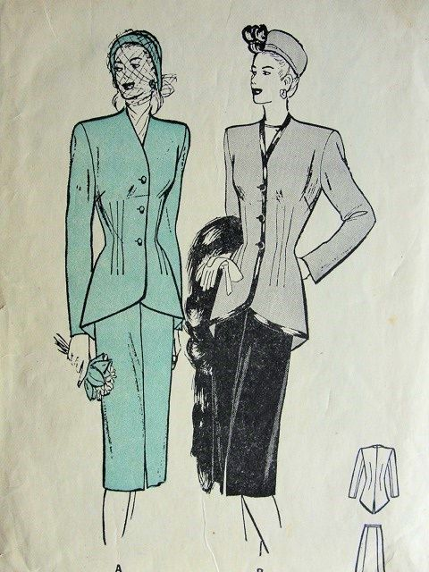 1940s BUTTERICK 4108 SUIT PATTERN FITTED CUTAWAY JACKET, GRACEFUL SWALLOWTAIL, SLIM 5 GORE SKIRT