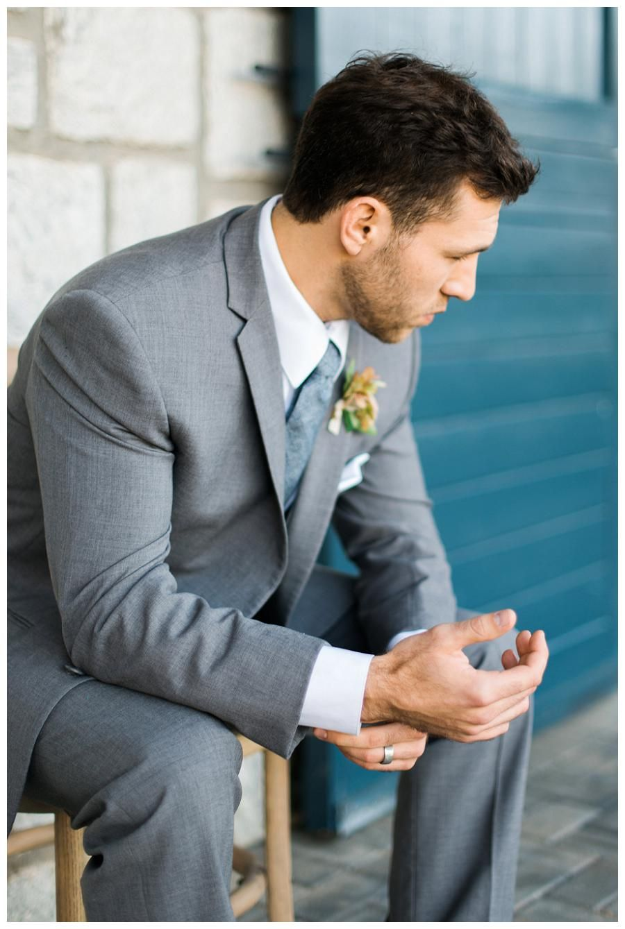 Groom style: 3-piece gray suit with slate blue tie from The Modern ...