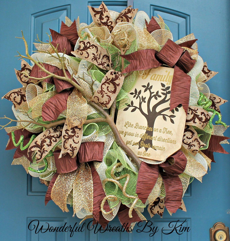 Deco Mesh Wreath Everyday wreath Family by WonderfulWreathsKim
