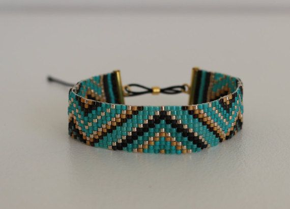 Beliebt Bracelet en perles miyuki tissées motif zig zag largeur 15mm  DH37