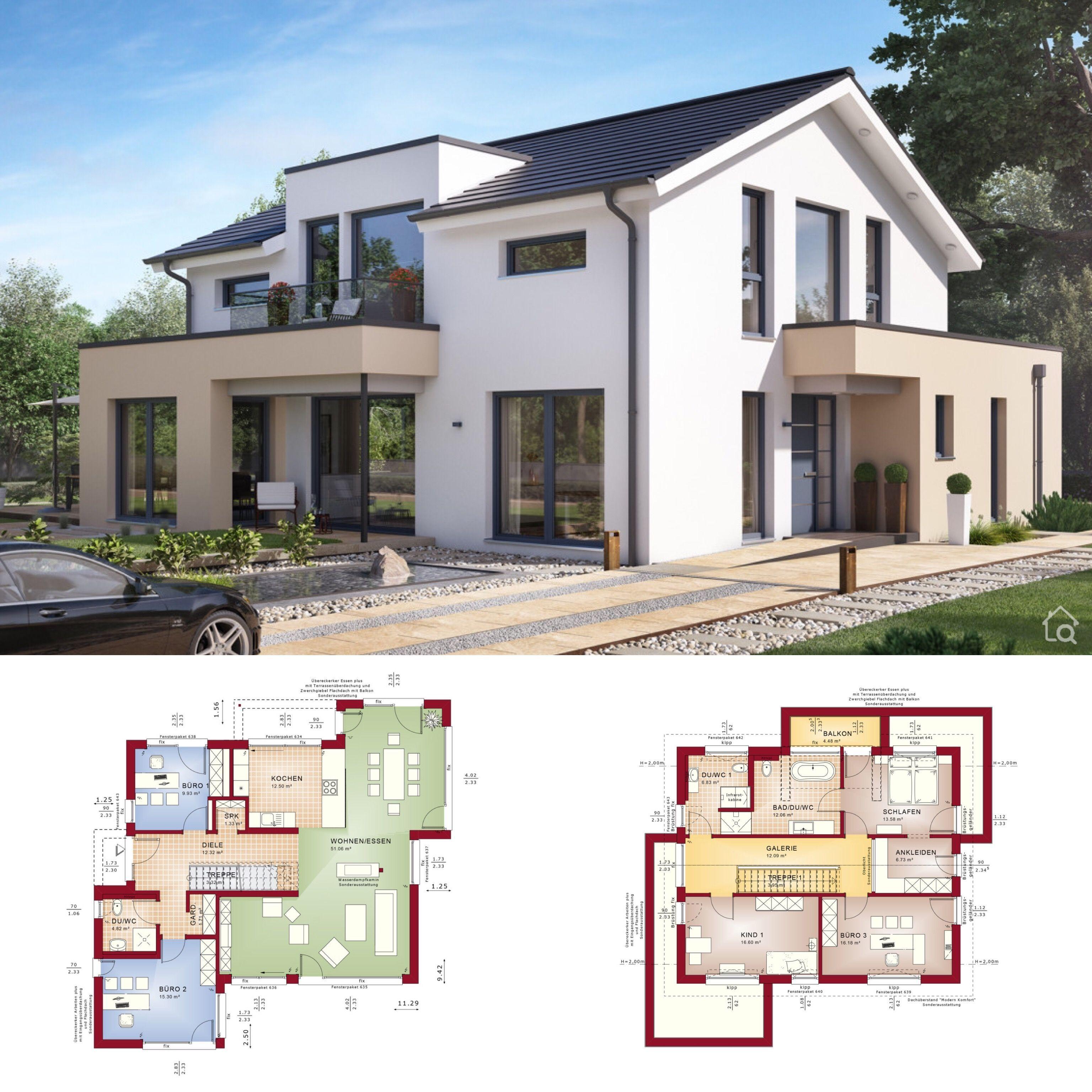 Fertighaus modern mit Satteldach bauen offener Haus