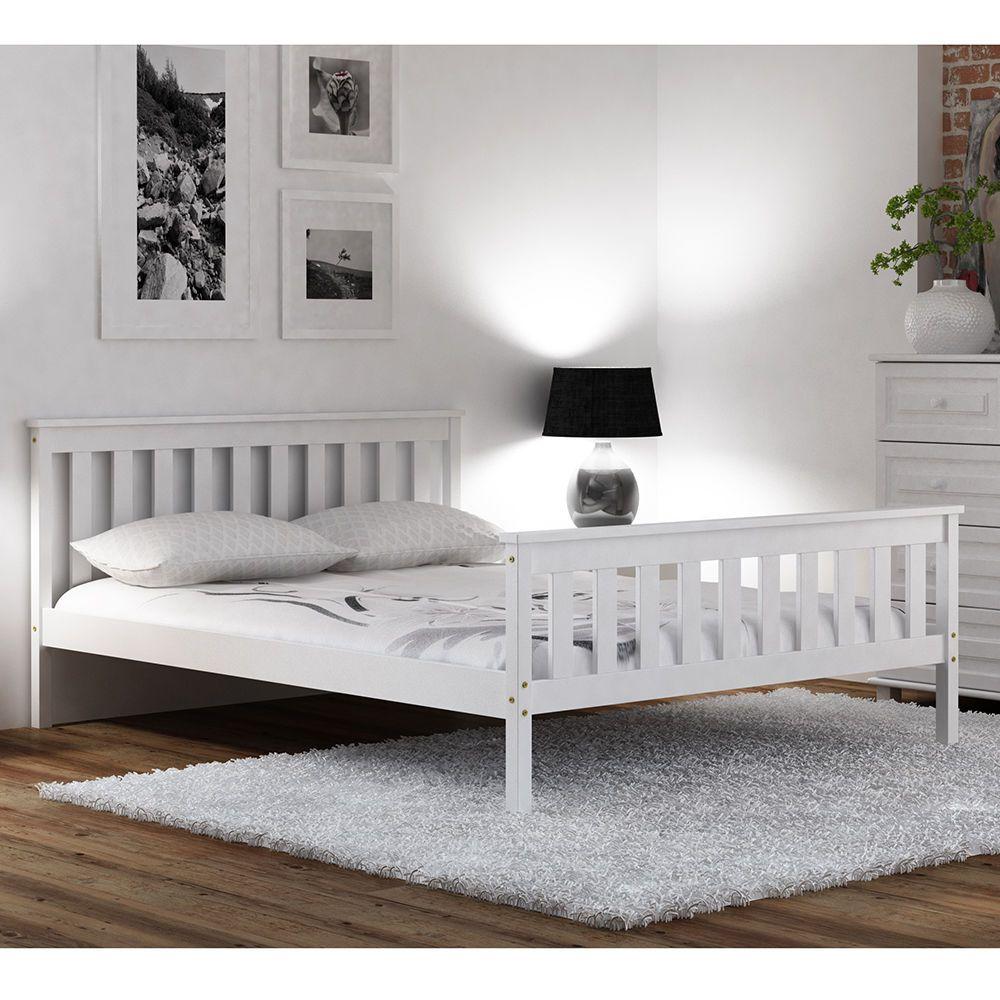 Bett Kieferholz Doppelbett Jugendbett Weiß Ehebett
