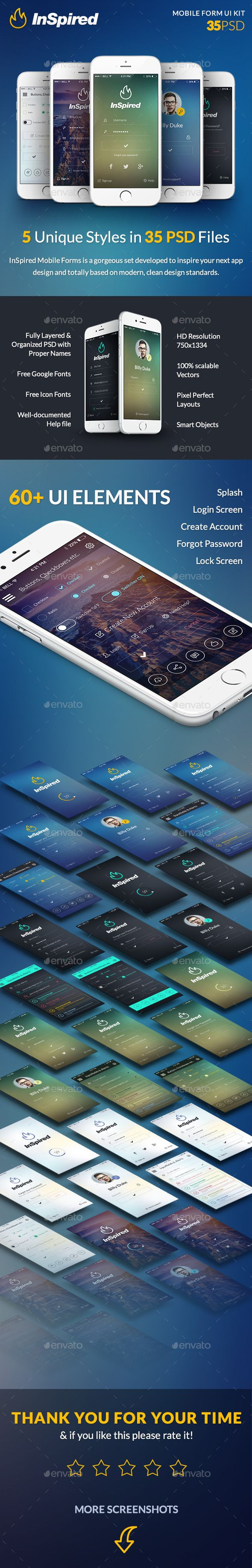 InSpired - Mobile Forms UI Template #psd #userinterface Download: http://graphicriver.net/item/inspired-mobile-forms/12922828?ref=ksioks