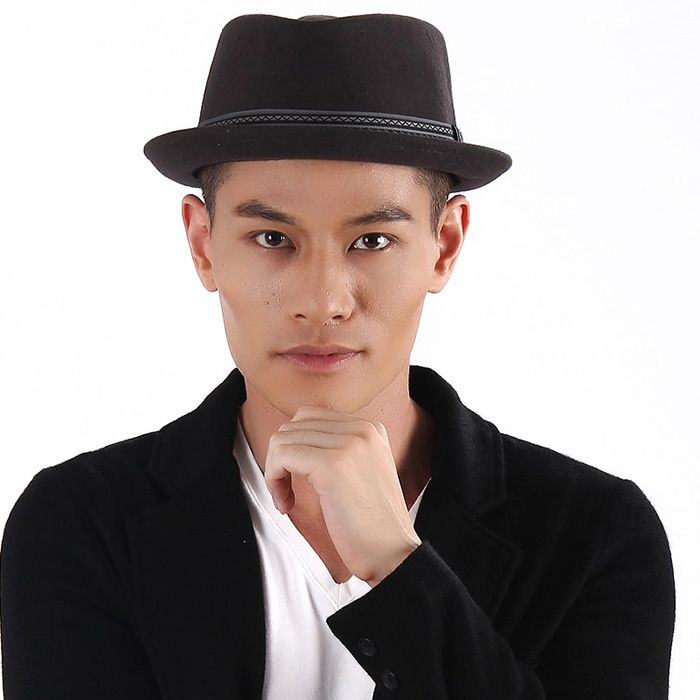 Male hat black fedoras jazz hat autumn and winter fashion elegant wool felt  hat hip hop cap-inFedoras from Apparel   Accessories on Aliexpre. 8e6f583f46a