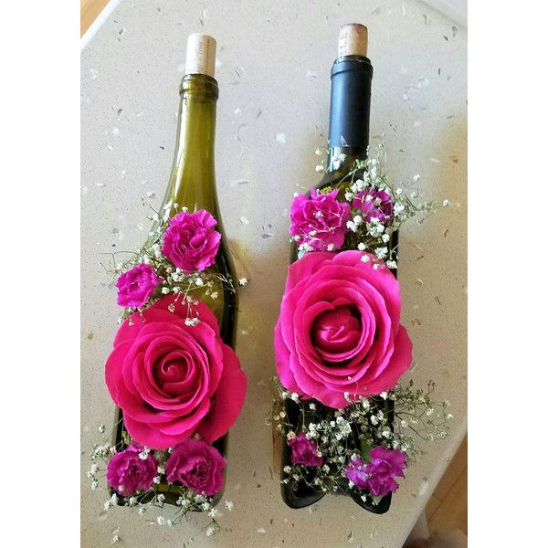 Flower Arrangements In Wine Bottles: Wine Bottle Vase Flower Vase Wedding Vases Centerpiece