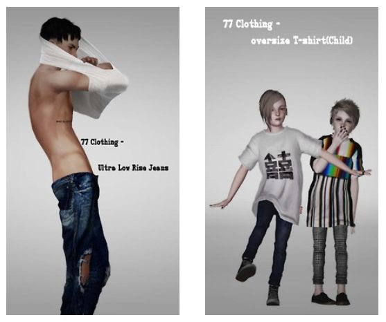 77 Clothing oversize T-shirt plus Ultra Low Rise Jeans - Sims 3 Downloads CC