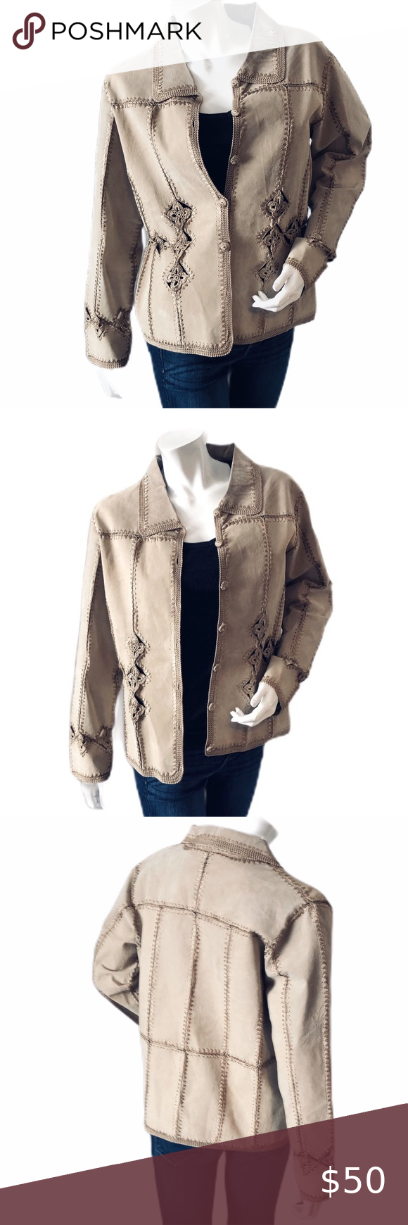 Carducci Leather and Embroidered Jacket Size Med in 2020