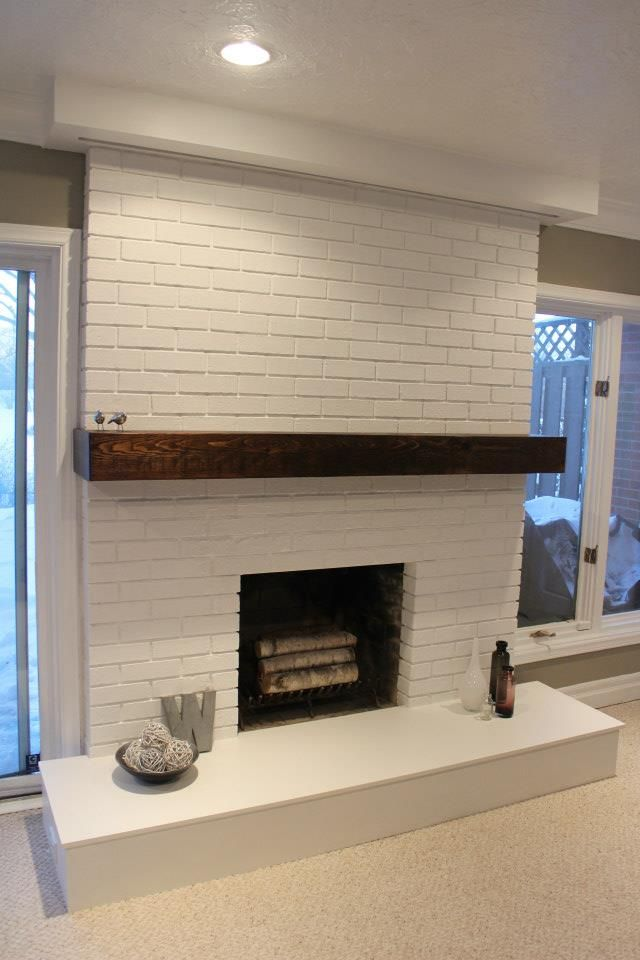 Larger Than Our Fireplace But Similar Location Windows For Example Of How It Would Look White Brick Fireplace Painted Brick Fireplaces Fireplace Remodel