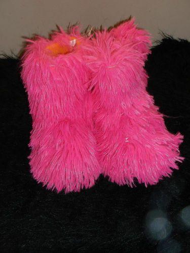 New Wild Fuzzy Hot Pink Slippers Boots Hard Sole Fleece Lined 9 Fun Fleece Lined | eBay