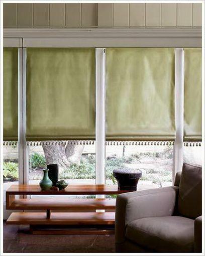Flat Fold Fabric Roman Shade With Beaded Embellishment At