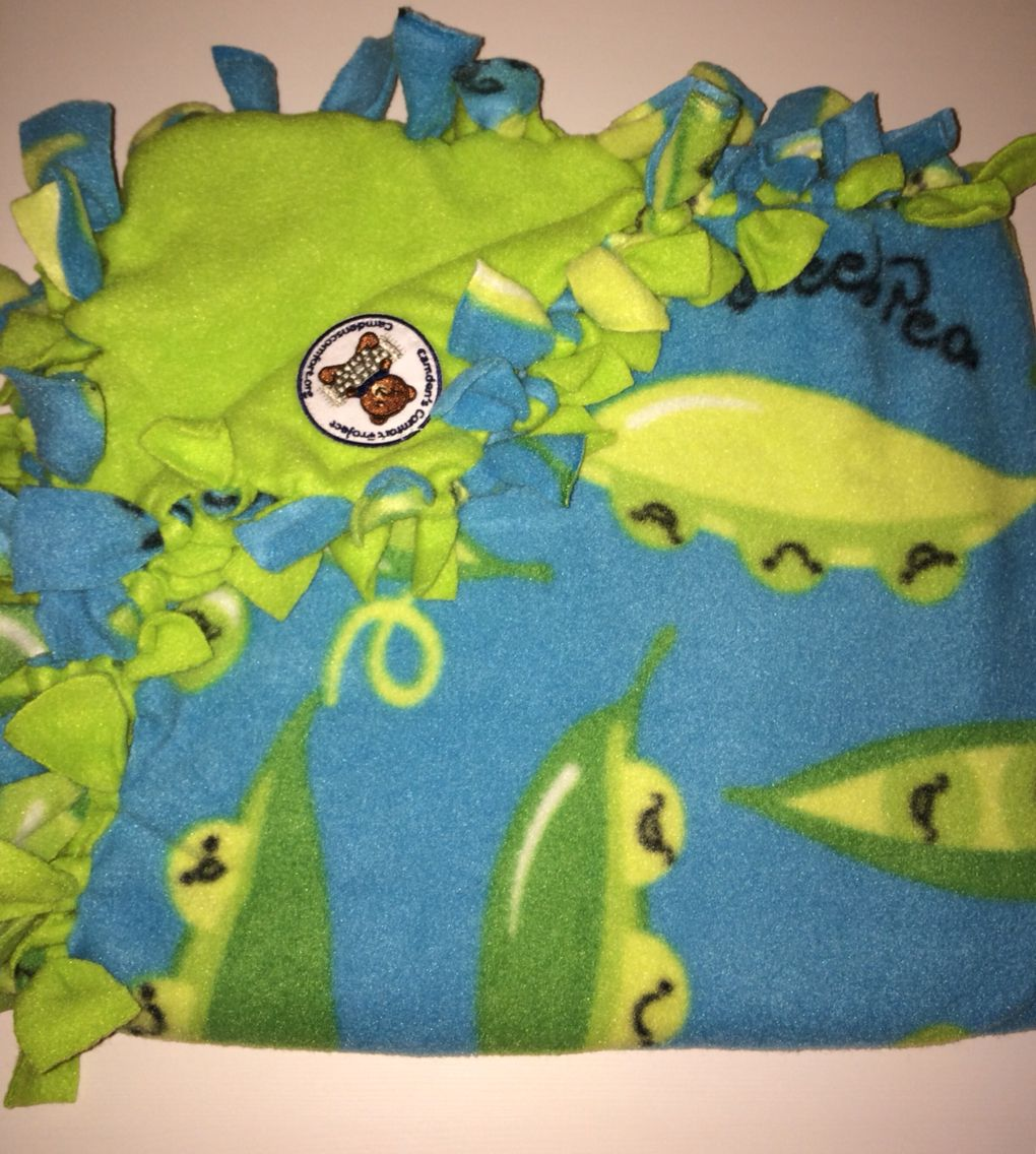 Sweet pea with lime fleece fabric thanks to our friend chris ca