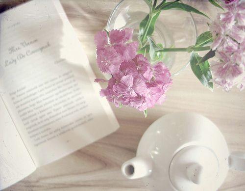 book, tea, flowers