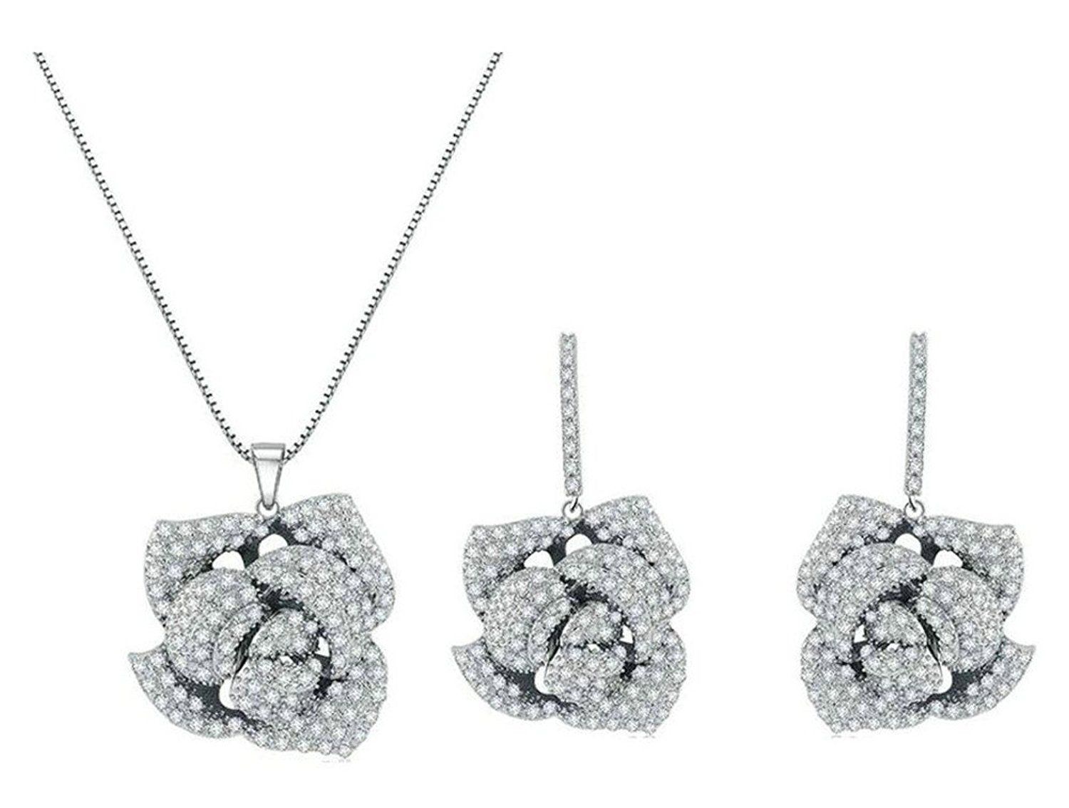 Babao jewelry eternal rose dazzling clear cz crystal k platinum