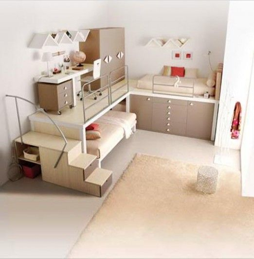 space saving bedroom - i love the idea of tucking the bed under a