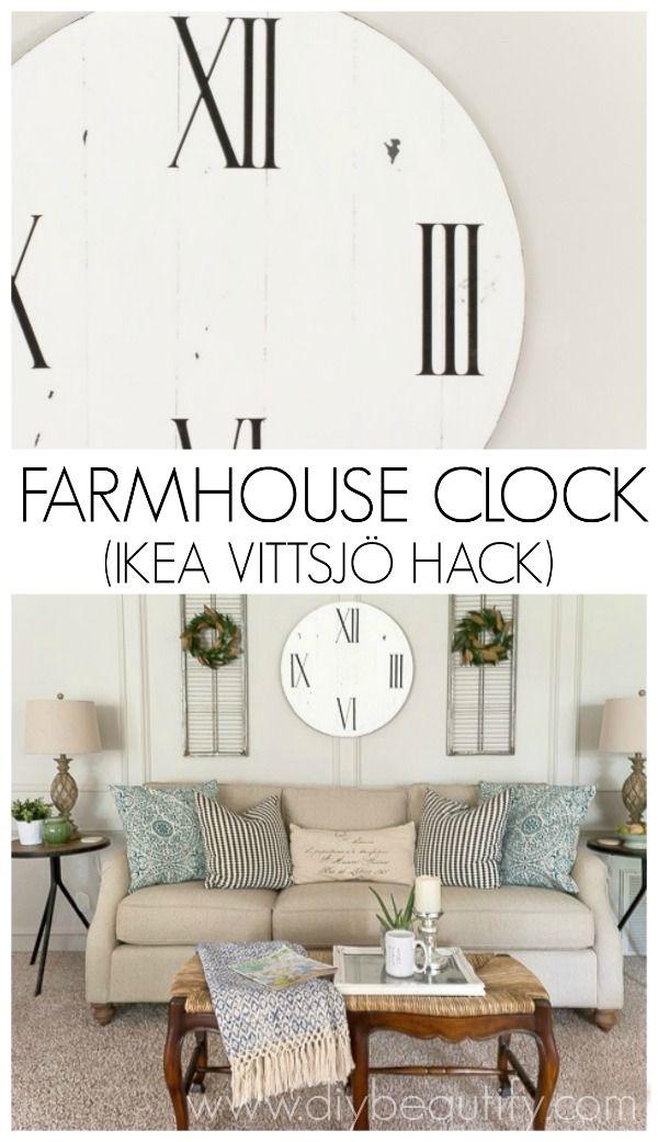 Follow this tutorial to make a farmhouse clock using a piece from IKEA  VITTSJ Farmhouse Clock  Made From IKEA VITTSJ    Using  Make  and Follow . Living Room Clocks Ikea. Home Design Ideas