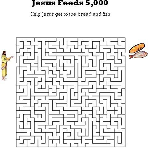 www.kidsbibleworksheets.com-Jesus Feeds 5,000 maze for