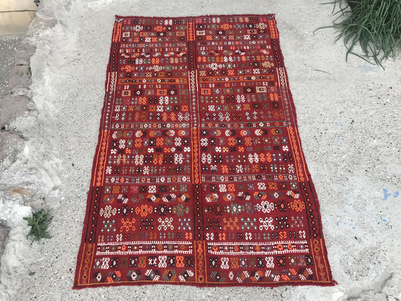 Super Fine Vintage Turkish Anatolian Kilim Rug, Distressed Kilim Rug, Red Kilim Rug, Vibrant Colors, Geometric Design, Symetric Design by NotonlyRugs on Etsy