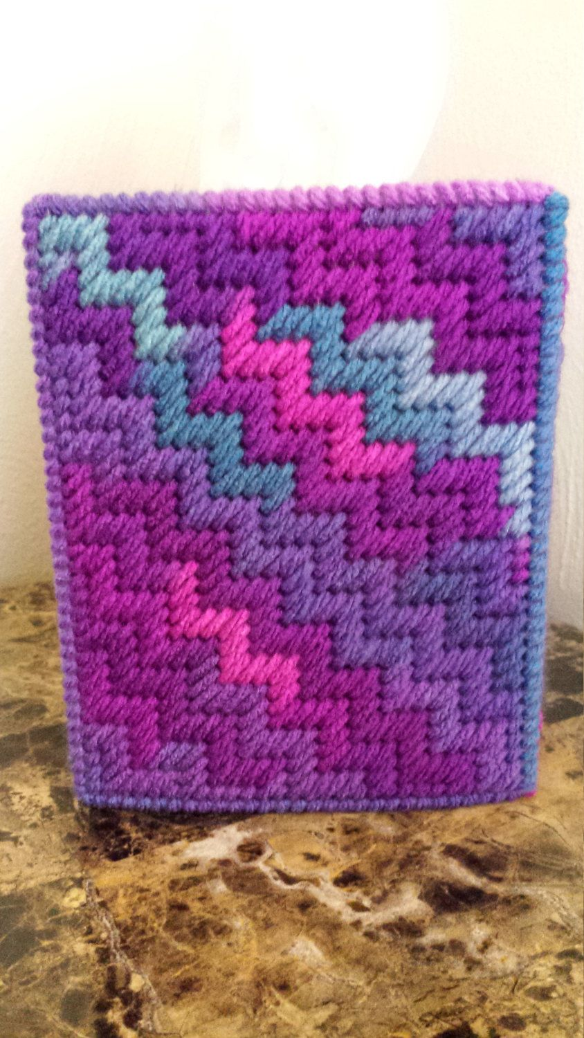 Grape Fizz ZigZag Tissue Box Cover by CatScratchCrafts on Etsy https://www.etsy.com/listing/262594744/grape-fizz-zigzag-tissue-box-cover