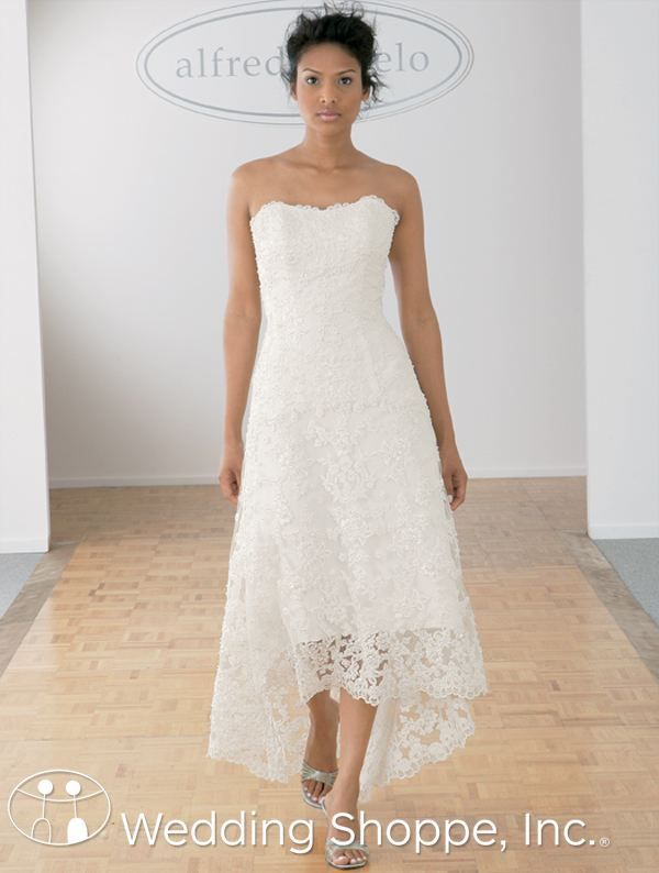 Tea Length High Low Lace Wedding Dress Perfect For An Informal