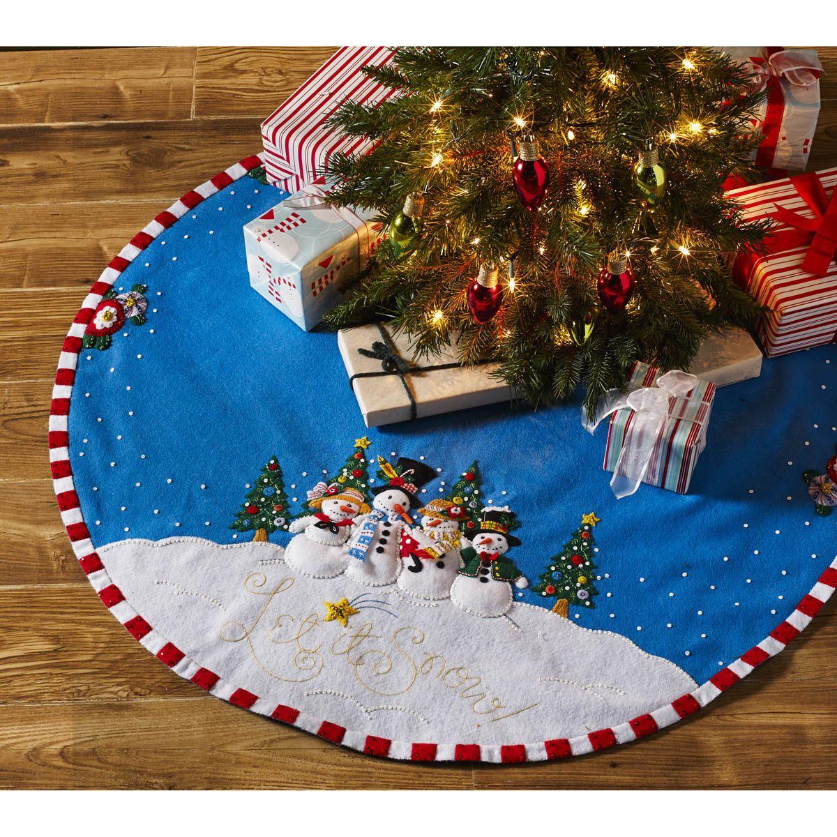 Bucilla Seasonal Felt Tree Skirt Kits Mary Engelbreit Let It Snow Felt Christmas Tree Felt Christmas Christmas Tree Skirt