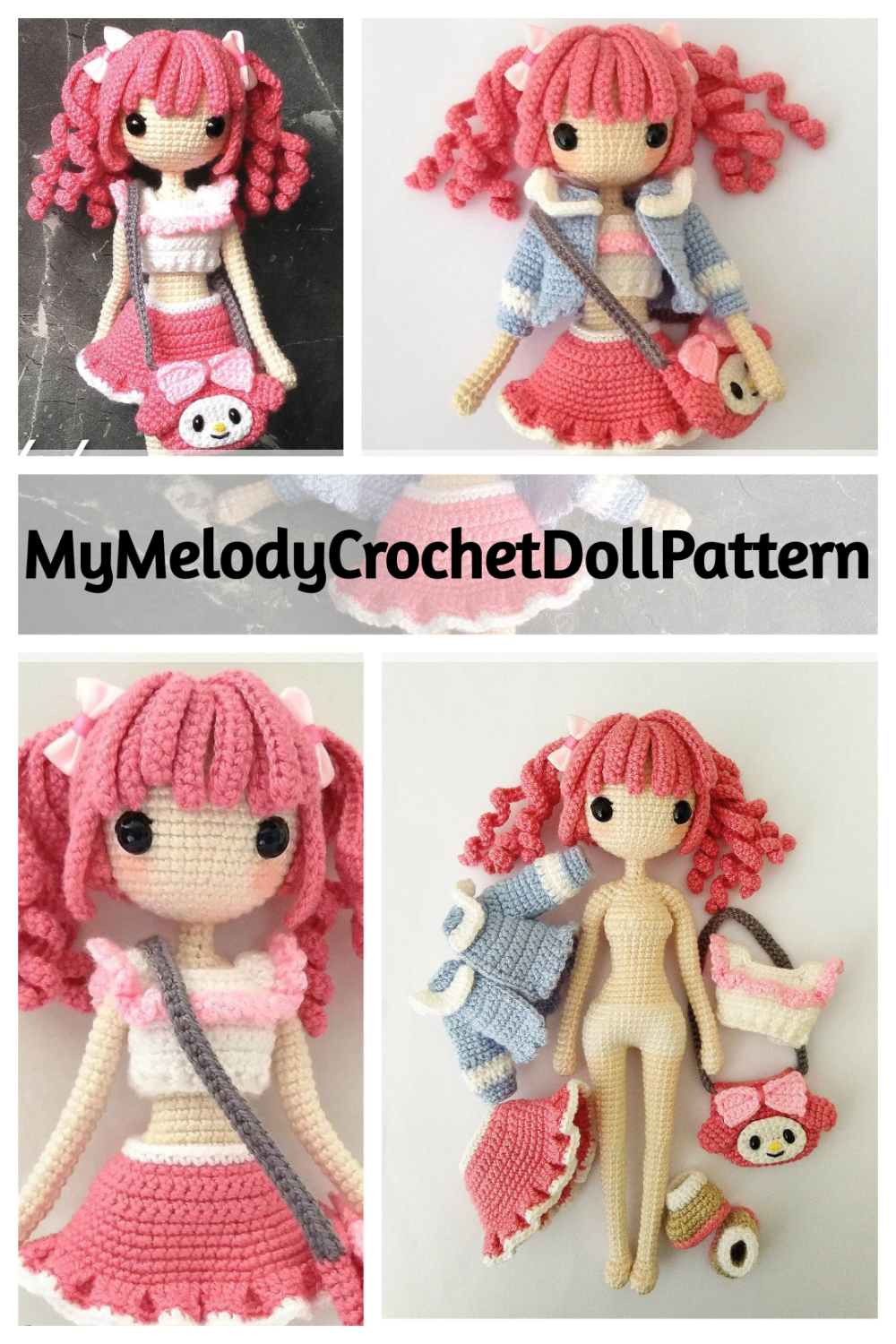 My Melody Crochet Doll Pattern - Stitch.Live #crochetdolls