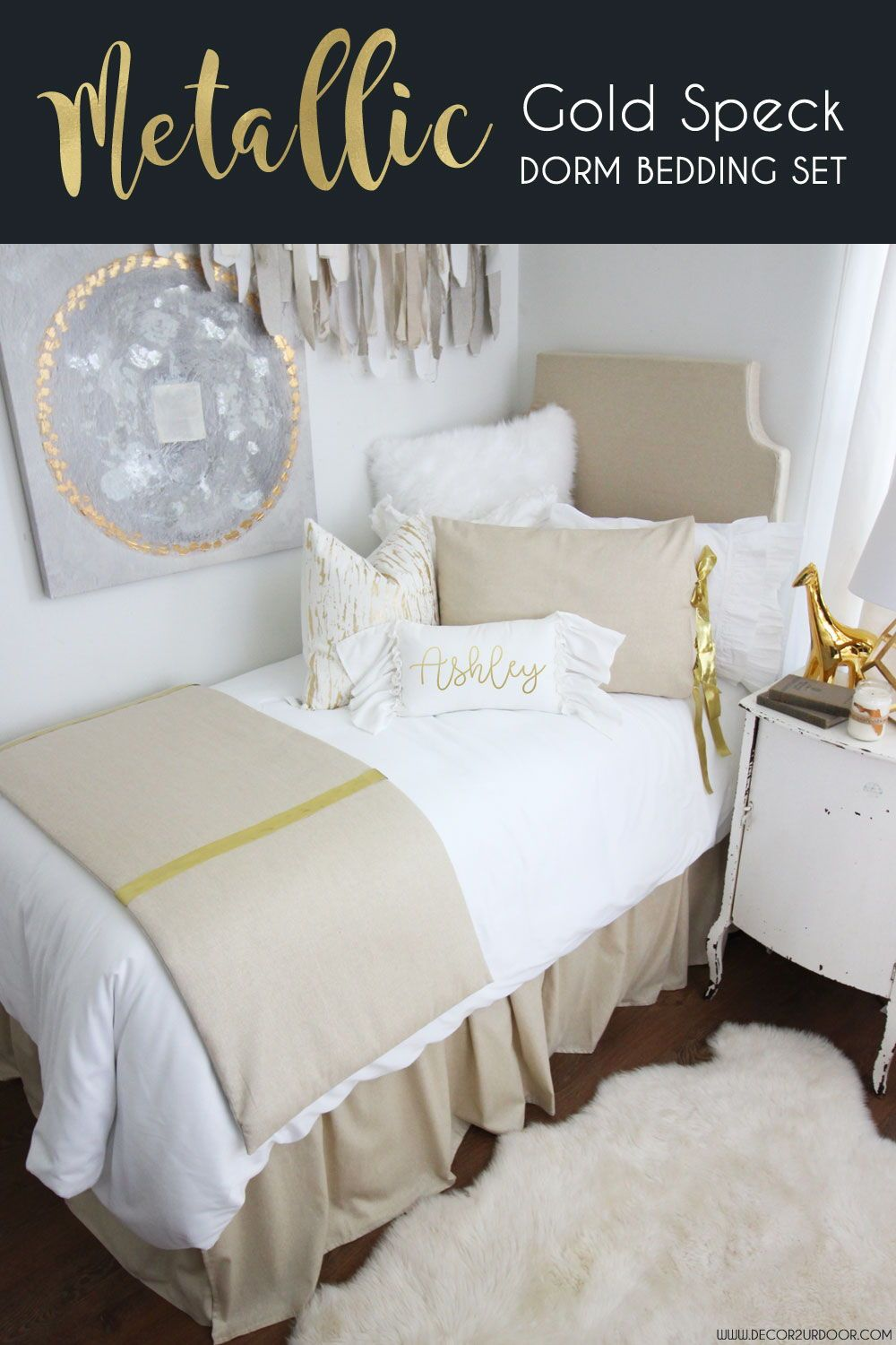 this metallic gold speck dorm bedding collection is the ultimate in