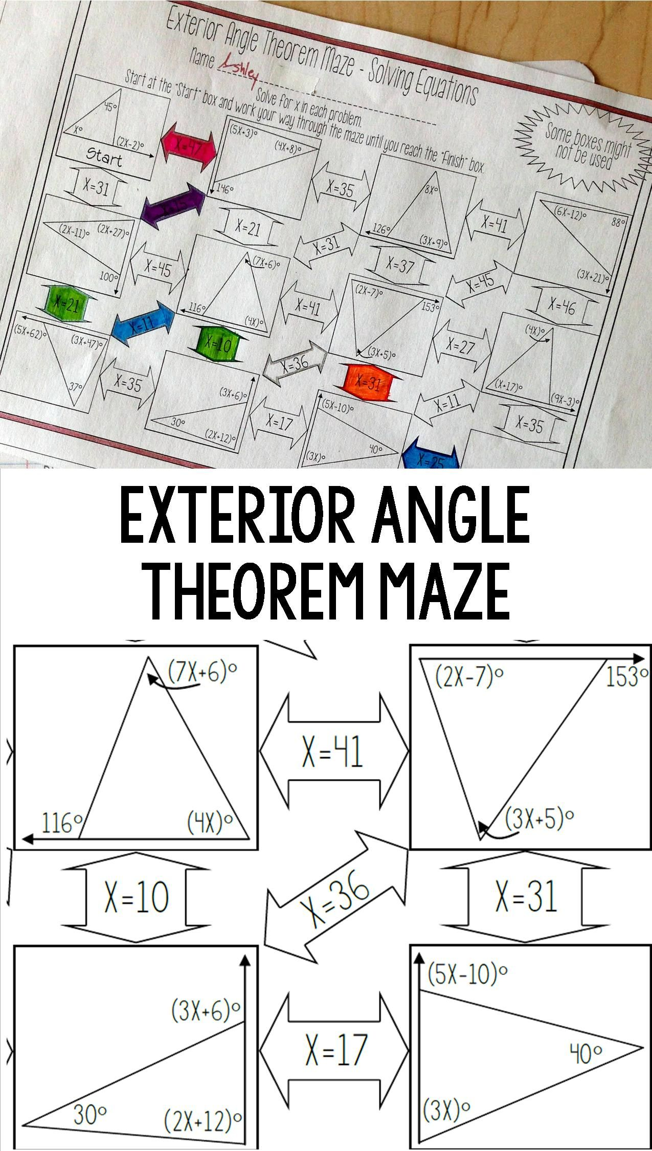 Exterior Angle Theorem Worksheet Solving Equations Maze Activity Solving Equations Math Geometry Teaching Geometry