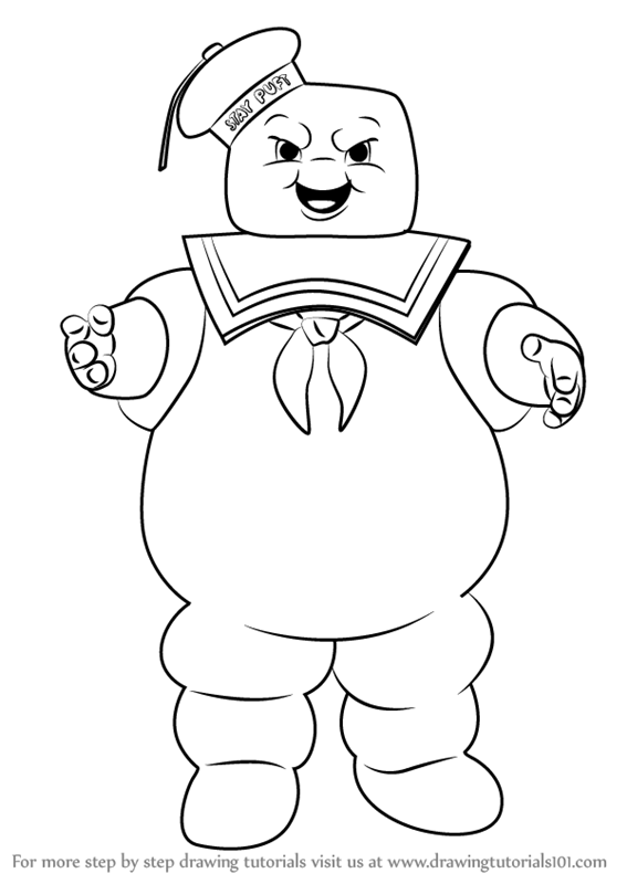 Learn How To Draw Stay Puft Marshmallow Man From Ghostbusters Ghostbusters Step By Step Draw Coloring Pages Ghostbusters Birthday Party Cool Coloring Pages