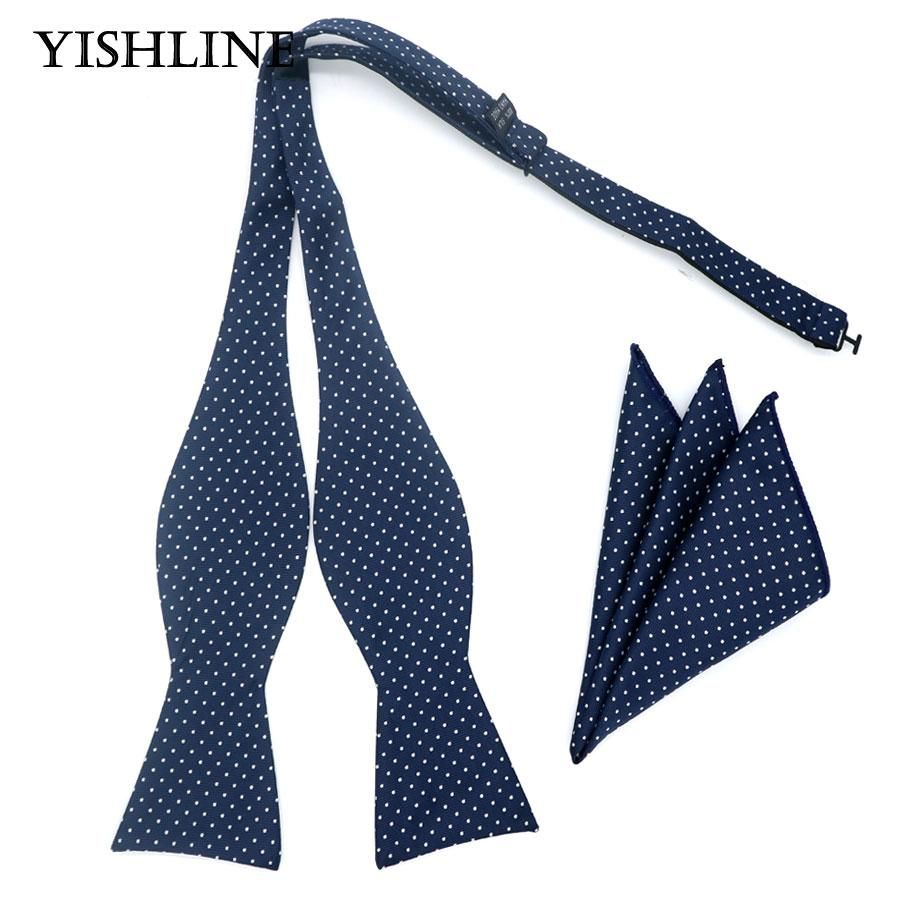 d4fd6d61fc141 GHL15 New Design Self Bow Tie Hanky Set Blue W/ White Polka Dot Silk Jacquard  Woven Men Bowtie Pocket Square Suit Wedding Party