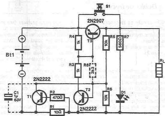 2b7bf571eff Esse esquema eletrônico é de um circuito muito simples que funciona como um  fusível eletrônico. Este fusível eletrônico foi projetado com três  transistores.