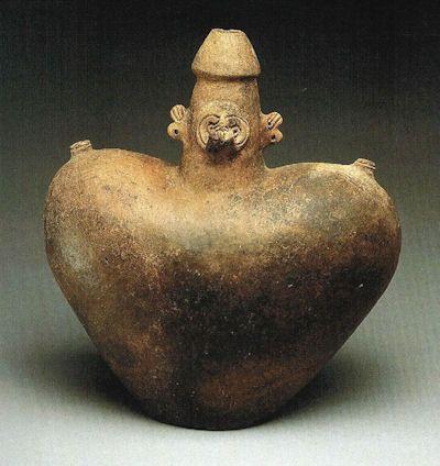 Cohoba Powder | Taíno phallic-mammiform ( i.e., male/female ) vessel with bat or owl ...